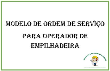 Modelo de Ordem de Serviço Para Montador de Empilhadeira